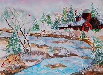 Painting - Red Barn In Winter by Ellen Levinson