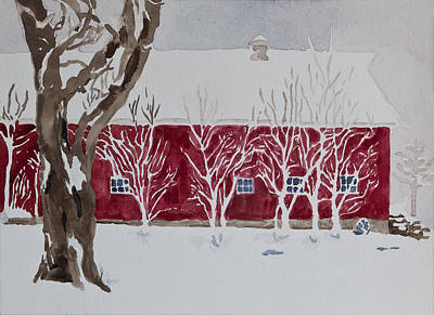 Barns In Snow Painting - Red Barn In Winter by Ina Whitlock