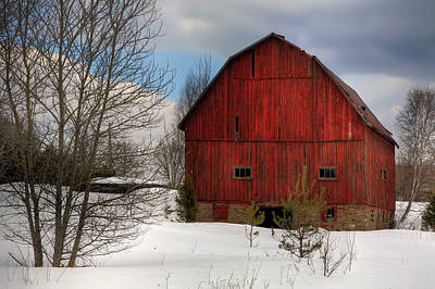 Photograph - Red Barn In Winter by Jim Vance