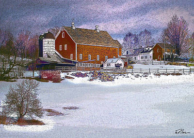 Digital Art - Red Barn In Winter by Nancy Griswold