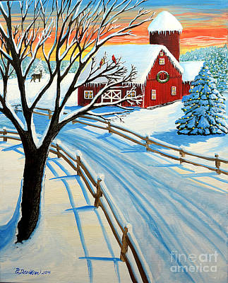 Red Barn In Winter Painting - Red Barn In Winter by Patricia L Davidson