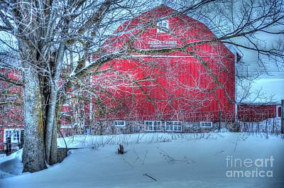 Red Barn In Winter Art Print by Terri Gostola
