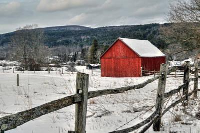 Split Rail Fence Photograph - Red Barn In Winter - Tyringham Cobble by Geoffrey Coelho