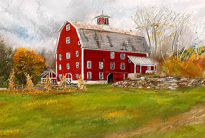 Impressionism Paintings - Red Barn in Woodstock Vermont- Red Barn Art by Lourry Legarde
