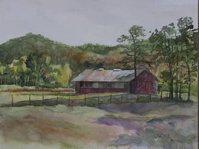 Tn Barn Painting - Red Barn by Janet Felts