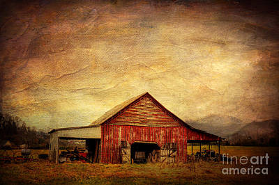 Red Barn  Art Print by Joan McCool
