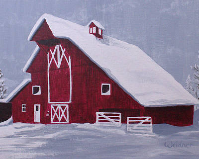 Painting - Red Barn by Kathy Weidner