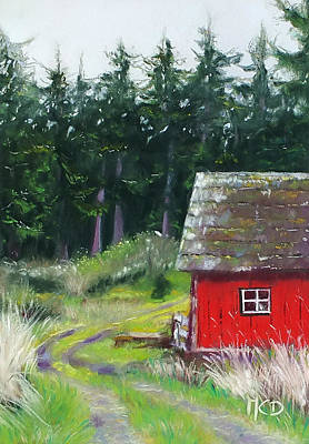 Old Barn Painting - Red Barn by Marie-Claire Dole