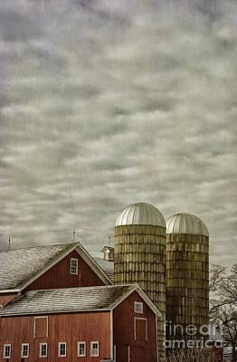 Red Barn On Cloudy Day Art Print by Birgit Tyrrell