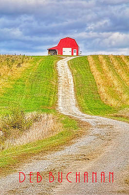 Photograph - Red Barn On Hill With Logo by Deb Buchanan