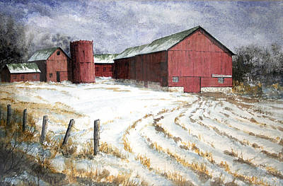 Painting - Red Barn On Rt. 49 by Roger Rockefeller