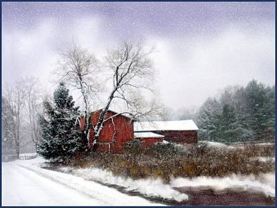 Snowfall Mixed Media - Red Barn On Snowy Road by Linda Seifried