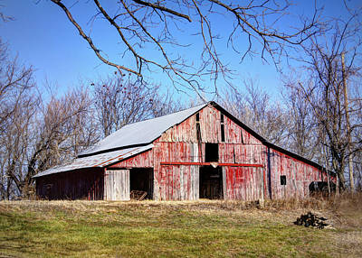 Cricket Field Photograph - Red Barn On The Hill by Cricket Hackmann