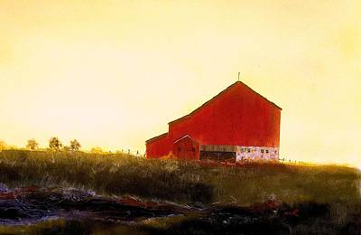 Art Print featuring the painting Red Barn On The Rocks by William Renzulli