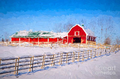 Photograph - Red Barn - Painterly by Les Palenik
