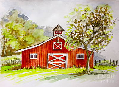 Painting - Red Barn Quebec Canada by Yvonne Ayoub