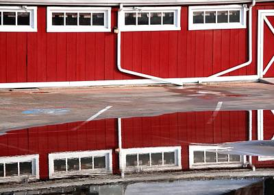 Jerry Sodorff Royalty-Free and Rights-Managed Images - Red Barn Reflection 5022 2 by Jerry Sodorff