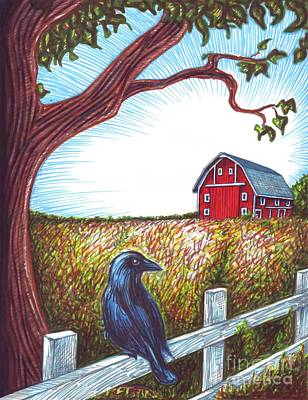 Drawing - Red Barn by Samantha Geernaert