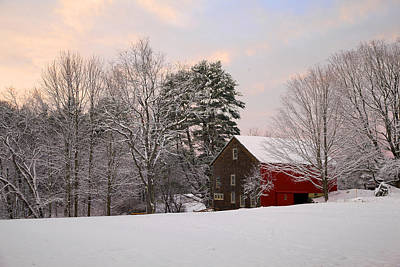 Art Print featuring the photograph Red Barn Sunrise by Larry Landolfi