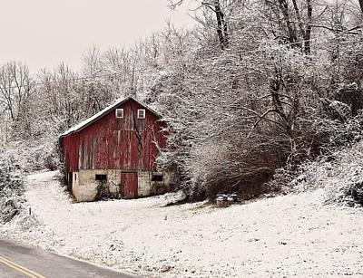 Digital Art - red barn West Virginia by Chris Flees