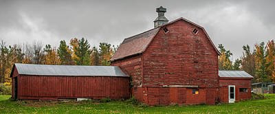 Red Barn With Fall Colors Art Print by Paul Freidlund