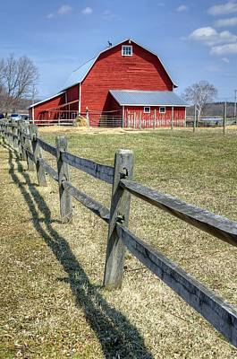 Red Barn With Fence Art Print