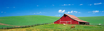 Red Barn With Horses Wa Art Print by Panoramic Images