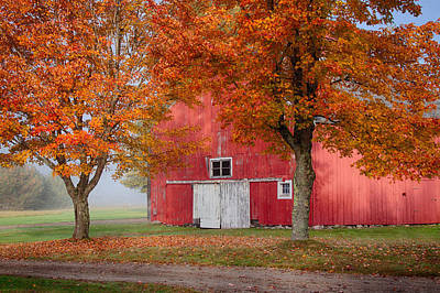 Red Barn With White Barn Door Art Print by Jeff Folger