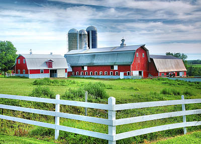 Red Barns And White Fence Art Print