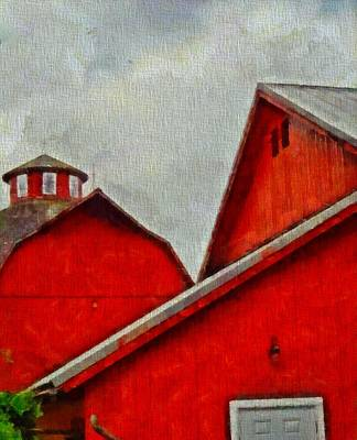 Amish Farms Mixed Media - Red Barns At Amish Acres by Dan Sproul