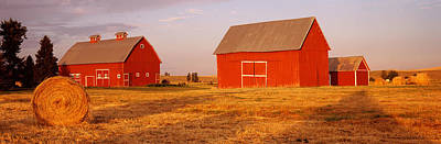 Bale Photograph - Red Barns In A Farm, Palouse, Whitman by Panoramic Images