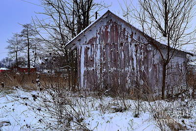 Indiana Photograph - Red Barns In Winter by Amy Lucid