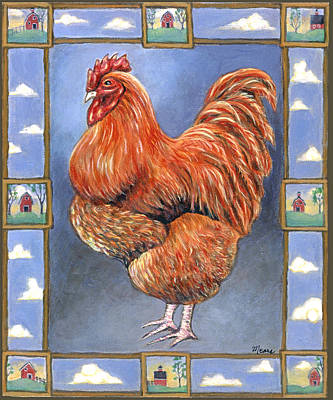 Red Baron Rooster Print by Linda Mears