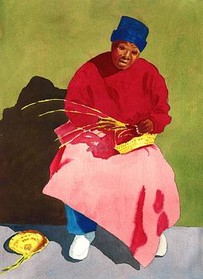 Handcrafted Painting - Red Basket Lady by Vincent Bobo