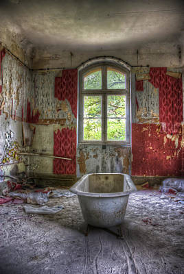 Abandoned Digital Art - Red Bathroom by Nathan Wright