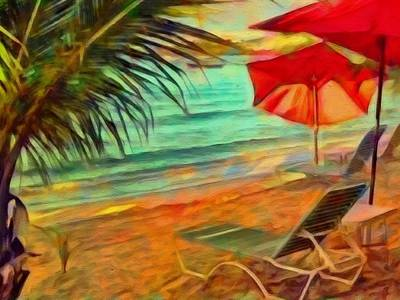 Painting - Red Beach Umbrellas - Horizontal by Lyn Voytershark