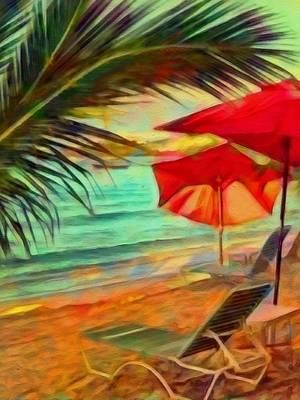 Painting - Red Beach Umbrellas - Vertical by Lyn Voytershark