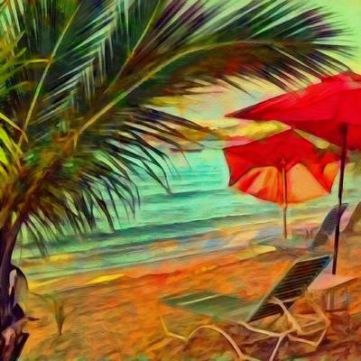 Digital Art - Red  Beach Umbrellas Square by Lyn Voytershark