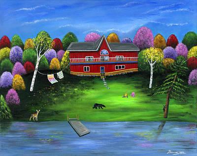 Red Bear Cottage Art Print