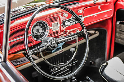 Beetle Car Interior Photograph - Red Beetle by Chris Smith