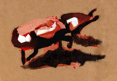 Printmaking Mixed Media - Red Beetle by Luke Keown