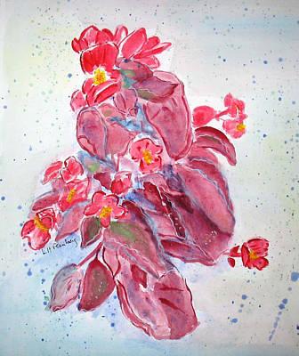 Painting - Red Begonias by Linda Feinberg