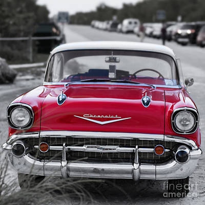 Oldtimers Photograph - Red 57 Chevy Belair At The Beach Square by Edward Fielding