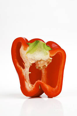Healthy Eating Photograph - Red Bell Pepper Cut In Half by Bernard Jaubert