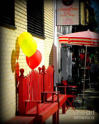 Photograph - Red Bench And Balloons by Valerie Reeves
