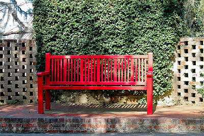 Photograph - Red Bench by Jessica Brown