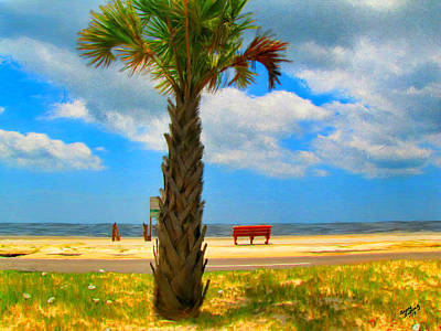 Painting - Red Bench On The Beach by Bruce Nutting