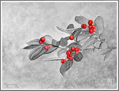 Painting - Red Berries by Mariarosa Rockefeller
