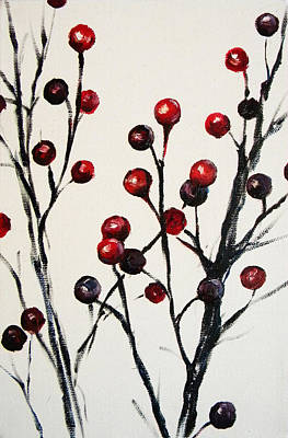 Red Berry Study Art Print by Rebekah Reed