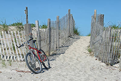 Photograph - Red Bicycle On The Beach by Susan OBrien